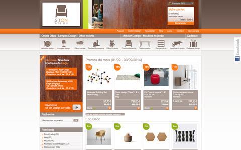 Screenshot of Home Page sitondesign.be - Mobilier design, objets et cadeaux design, lampes design, meubles de jardin - captured Sept. 24, 2014