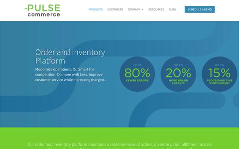 Screenshot of Products Page pulse-commerce.com - Enterprise Order Management System (OMS) | Pulse Commerce - captured July 11, 2018
