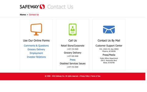 Screenshot of Contact Page safeway.com - Contact Us - captured Jan. 27, 2017