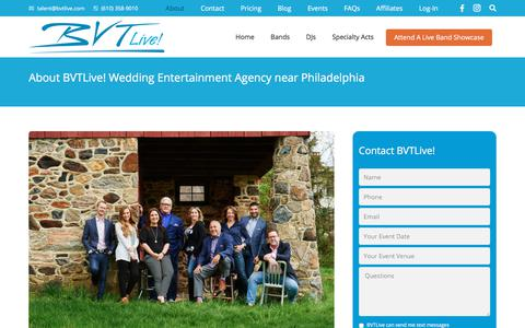 Screenshot of About Page bvtlive.com - Party & Wedding Entertainment Agency - Philadelphia: BVTLive! - captured Aug. 1, 2018