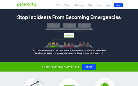 Screenshot of Home Page pagerduty.com - Incident Management System for IT Monitoring Tools | PagerDuty - captured July 3, 2015
