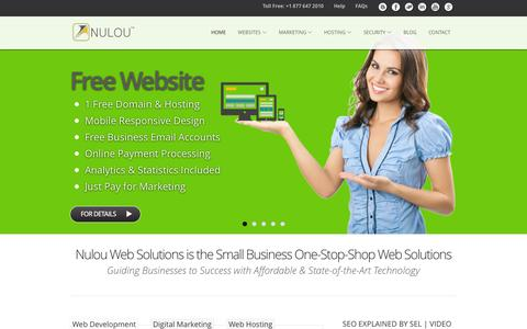 Screenshot of Home Page nulouwebsolutions.com - A Complete Small Business Web Solutions Company In The Business World | USA Leading Web Design and Development, SEO/SEM, E-Commerce Solution, Affordable Domain Name & Web Hosting Company | Nulou Web Solutions - captured Sept. 12, 2015