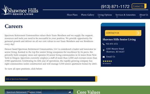 Screenshot of Jobs Page spectrumretirement.com - Careers At Shawnee Hills Senior Living - captured Jan. 23, 2017