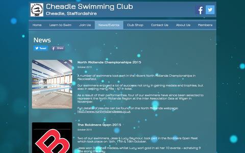Screenshot of Press Page cheadleasc.org.uk - Cheadle Swimming Club | News/Events - captured Nov. 5, 2016