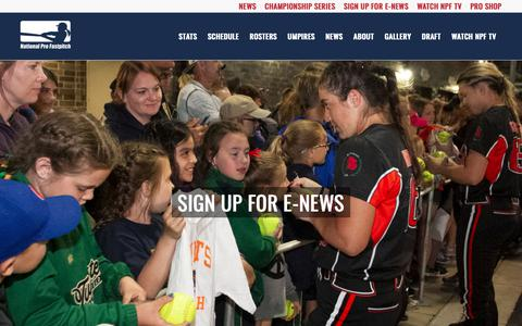 Screenshot of Signup Page profastpitch.com - SIGN UP FOR E-NEWS - National Pro Fast Pitch - captured Oct. 18, 2018