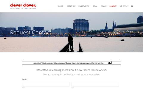 Screenshot of Contact Page cleverclover.nl - Request Contact   Clever Clover - captured May 18, 2017