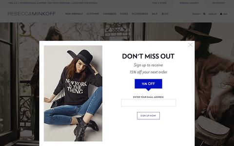 Screenshot of Home Page rebeccaminkoff.com - Rebecca Minkoff Online Store: Handbags, Clothing, Shoes, & Accessories  | Rebecca Minkoff - captured Oct. 1, 2015