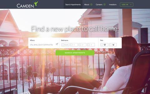 Screenshot of Home Page camdenliving.com - Luxury Apartments for Rent - CamdenLiving.com - captured June 17, 2015