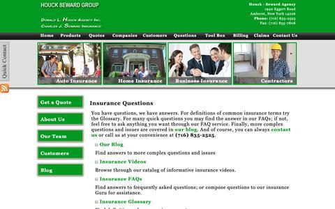 Screenshot of FAQ Page fhsgroup.net - Insurance Questions | Houck - Seward Agency - captured Oct. 18, 2018