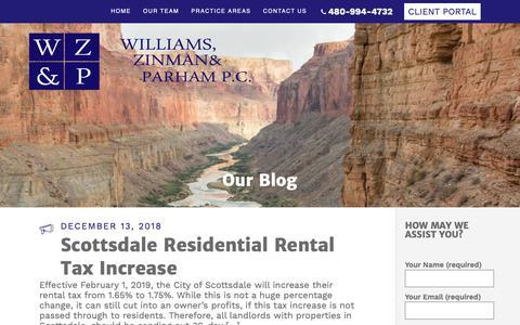 Screenshot of Blog wzplegal.com - Blog | Attorneys in Phoenix Arizona (Top Rated) - captured Dec. 21, 2018
