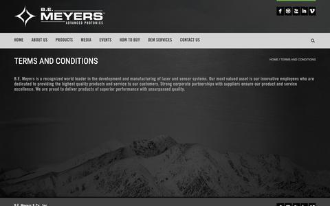 Screenshot of Terms Page bemeyers.com - Terms and Conditions - B.E. Meyers & Co., Inc | Advanced Photonics - captured Nov. 10, 2018