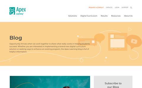 Screenshot of Blog apexlearning.com - Blog | Apex Learning - captured Aug. 22, 2019