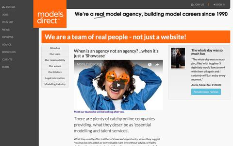 Screenshot of About Page modelsdirect.com - For Models Looking For A Reliable Agency Get In Touch With Models Direct - captured Nov. 21, 2017