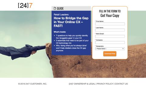 Screenshot of Landing Page 247-inc.com - How to Bridge the Gap in Your Online CX – FAST! - captured June 7, 2016
