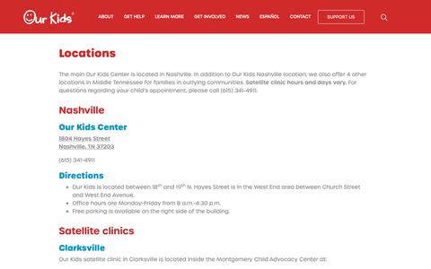 Screenshot of Locations Page ourkidscenter.com - Our Kids Locations - captured Oct. 19, 2018