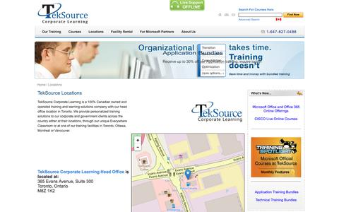 Screenshot of Locations Page teksource.ca - Management Training, Business Training and IT Training - TekSource Corporate Learning  / Locations - captured Nov. 29, 2016