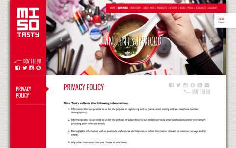 Screenshot of Privacy Page misotasty.com - Privacy Policy | Miso Tasty - captured Oct. 26, 2014