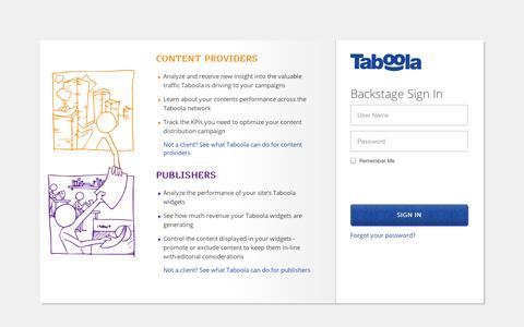 Screenshot of Login Page taboola.com - Sign In - captured Sept. 11, 2014
