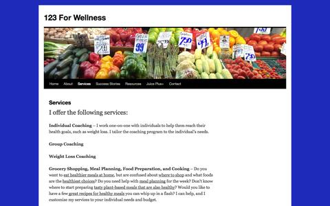 Screenshot of Services Page 123forwellness.com - Services | 123 For Wellness - captured Oct. 6, 2014