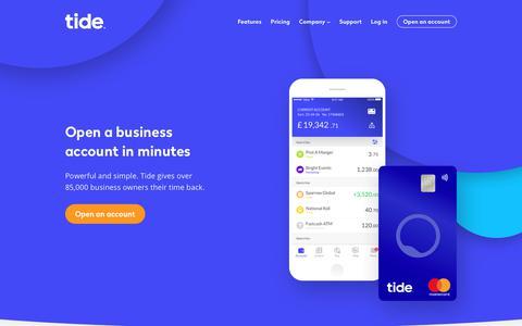 Screenshot of Home Page tide.co - Business Banking | Tide - captured June 21, 2019