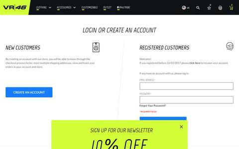 Screenshot of Login Page vr46.it - Customer Login - captured Nov. 20, 2017