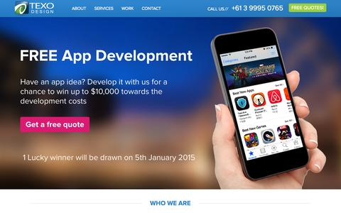 Screenshot of Home Page texodesign.com - App Developers, App Development Melbourne - Texo Design - captured Oct. 9, 2014
