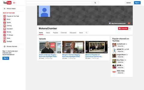 Screenshot of YouTube Page youtube.com - MokenaChamber  - YouTube - captured Oct. 26, 2014
