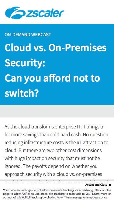 Cloud vs. On-Premises Security  Zscaler