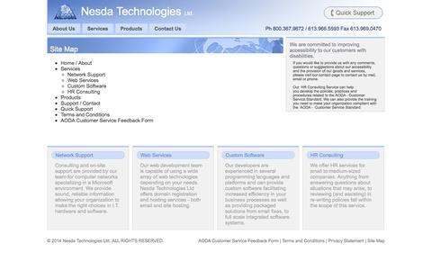 Screenshot of Site Map Page nesda.ca - Site Map • Nesda Technologies Ltd. - captured Oct. 9, 2014