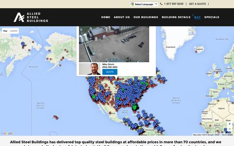 Screenshot of Maps & Directions Page alliedsteelbuildings.com - Map - captured Oct. 15, 2015
