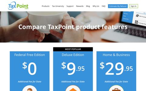 Screenshot of Products Page taxpoint.com - Compare TaxPoint Tax Preparation Software Features - captured Jan. 10, 2016