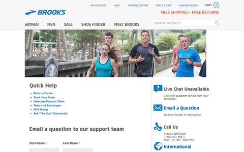 Questions for Brooks Running Customer Service