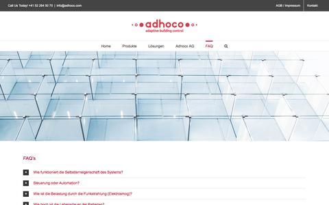 Screenshot of FAQ Page adhoco.com - Fragen und Antworten – adhoco adaptive building control - captured Oct. 7, 2017