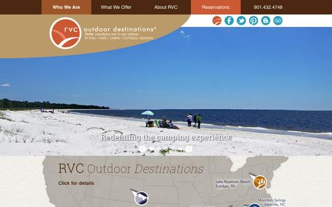 Screenshot of Home Page rvcoutdoors.com - RVC Outdoor Destinations   RV Sites, Cottages, Yurts, Cabins - captured Sept. 19, 2014