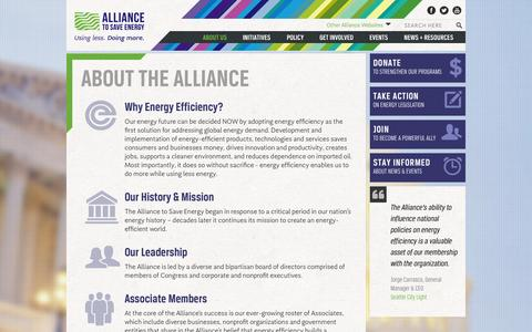 Screenshot of About Page ase.org - About the Alliance | Alliance to Save Energy - captured Sept. 23, 2014