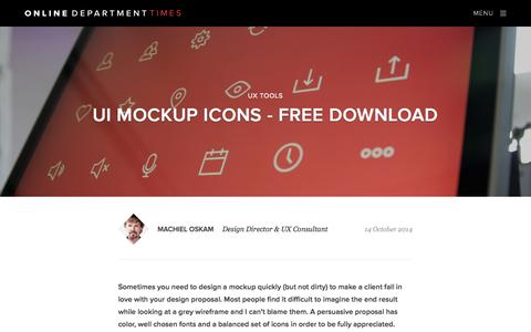 Screenshot of Blog onlinedepartment.nl - UI mockup icons - free download   Online Department Times - captured Oct. 26, 2014