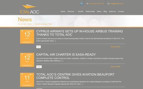 Screenshot of Press Page totalaoc.com - News   Total AOC - captured Oct. 7, 2014