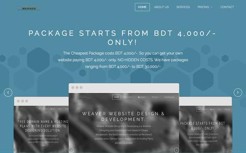 Screenshot of Home Page weaverbd.com - Weaver Website Design & Development - captured Oct. 6, 2014