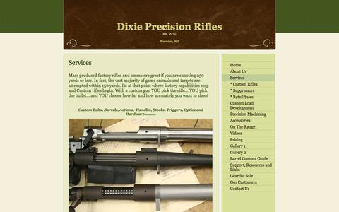 Screenshot of Services Page 1000yardhunter.com - Dixie Precision Rifles - Services - captured Oct. 5, 2014