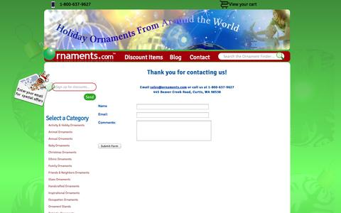 Screenshot of Contact Page ornaments.com - contact page - captured Oct. 7, 2014