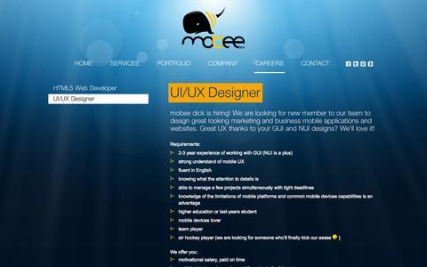Screenshot of Jobs Page mobeedick.com - UI/UX Designer   mobee dick - captured Oct. 7, 2014