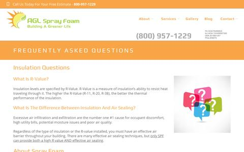 Screenshot of FAQ Page aglsprayfoam.com - Frequently Asked Questions | AGL Spray Foam - captured Nov. 19, 2016