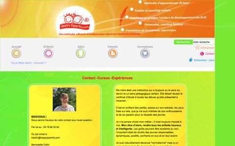 Screenshot of Contact Page happyparents.com - Contact bio - captured July 9, 2016