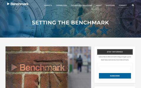 Screenshot of Blog bench.com - Setting the Benchmark | Blog | Benchmark Electronics - captured Jan. 21, 2019