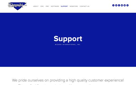 Screenshot of Support Page wizardint.com - Support — Wizard International, Inc. - captured Oct. 27, 2017
