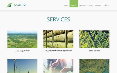Screenshot of Services Page canacre.com - Land Acquisition Company, Land Administration Services in USA, Canada - captured July 15, 2018