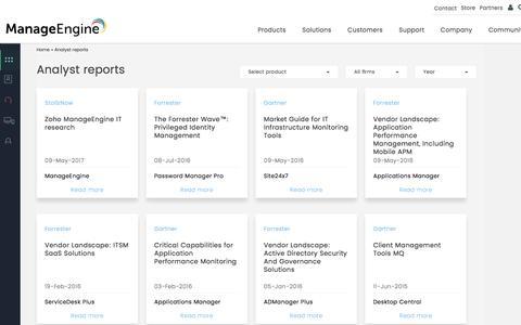 Analyst reports | ManageEngine