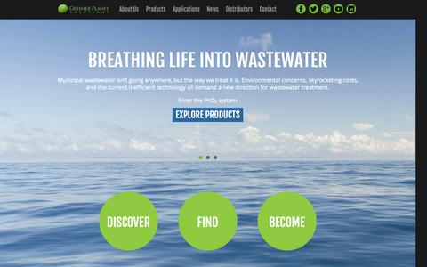 Screenshot of Home Page gps-na.com - Municipal Wastewater Treatment - Dissolved Oxygen - Sewage Treatment - Aerobic Wastewater Treatment | GPS-NA - Greener Planet Solutions North America - captured Oct. 3, 2014