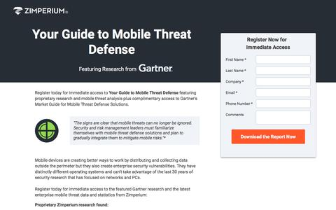 Screenshot of Landing Page zimperium.com - Your Guide to Mobile Threat Defense - captured Sept. 23, 2017