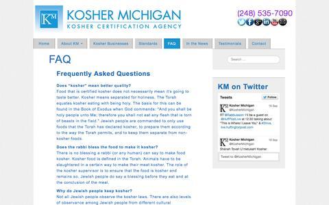Screenshot of FAQ Page koshermichigan.com - FAQ - Kosher Michigan - Kosher Certification Agency - captured Sept. 30, 2014